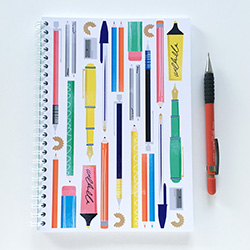 Colourful sketchbook notebook Pens and Pencil Illustration