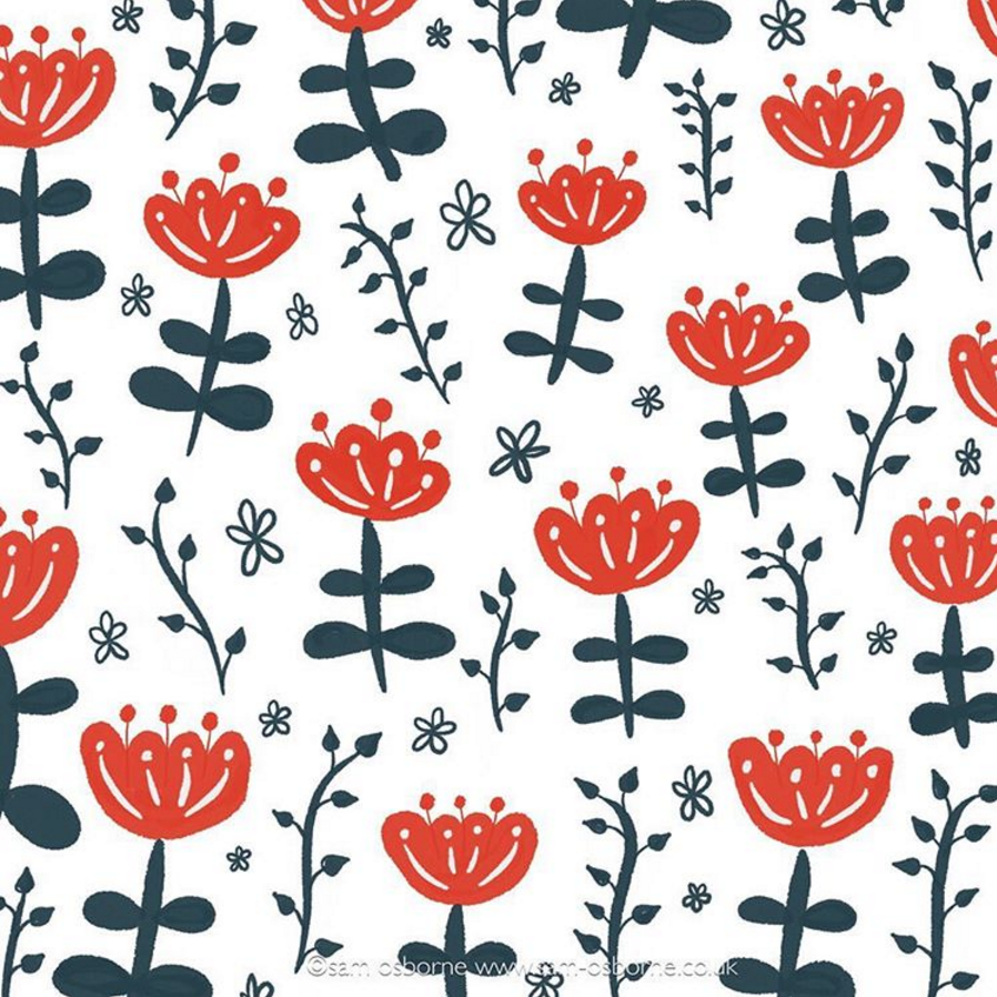 Floral Retro Pattern Illustration Sam Osborne