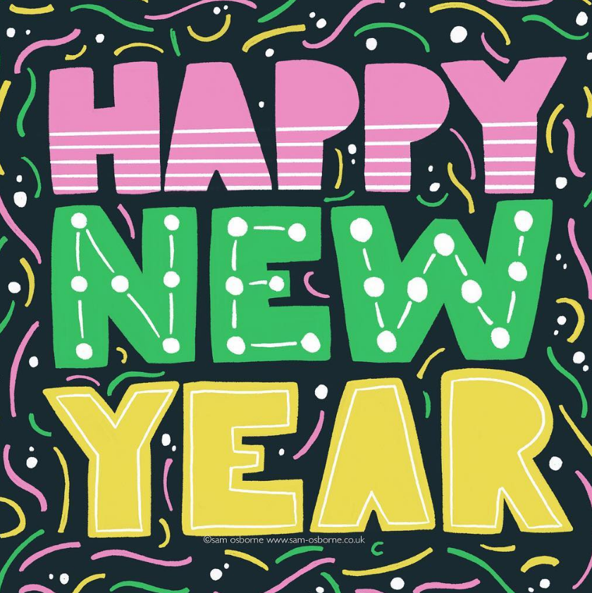 Happy New Year Lettering Illustration Sam Osborne