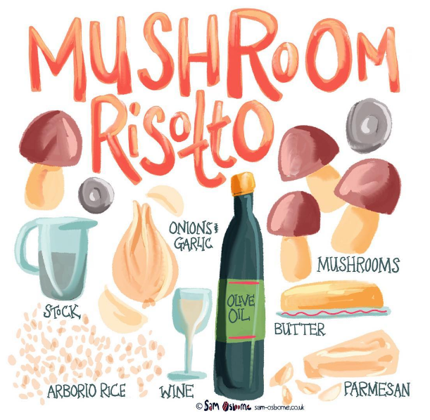 Mushroom Risotto Food Illustration