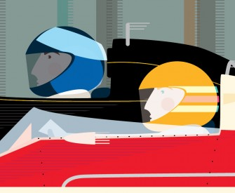 Racing Drivers Illustration Retro F1 Cars