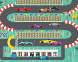 'Going The Distance' Kids Motorsport Illustration