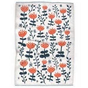 Red Blooms Tea Towel