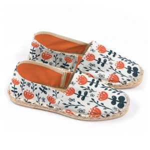 Red Blooms Print Espadrilles