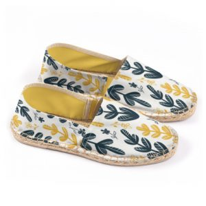 Yellow Leaves Print Espadrilles
