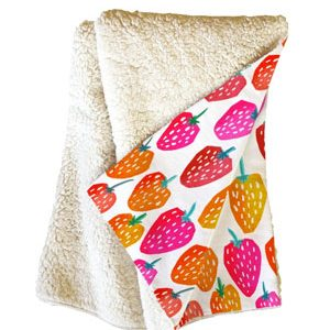 Bold Strawberries Fleece Blanket