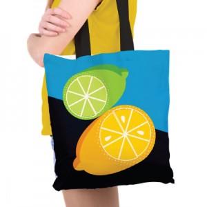 Lemon and Lime Illustrated Tote Bag Sam Osborne