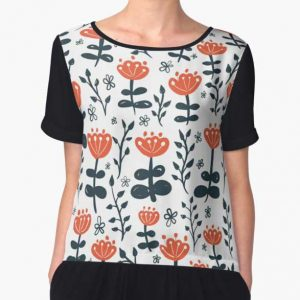 Red Blooms Chiffon Top