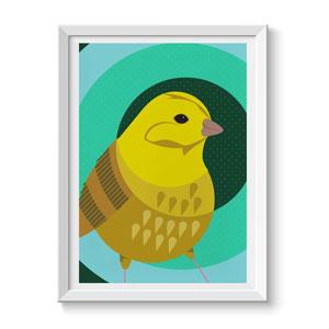 Yellow Hammer Bird Print Wall Art