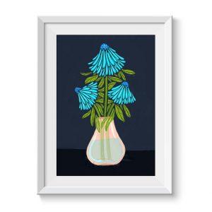 Blue Echinacea Floral Wall Art Print