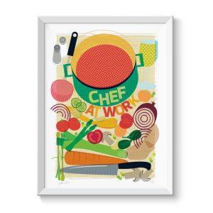 Chef At Work Wall Art Print