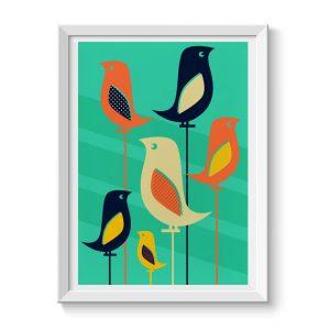 Mid Century Birds Wall Art Print