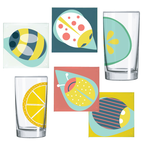 Bugs and Fruit Glass Coasters and Tumblers Sam Osborne Sunlit Orchard