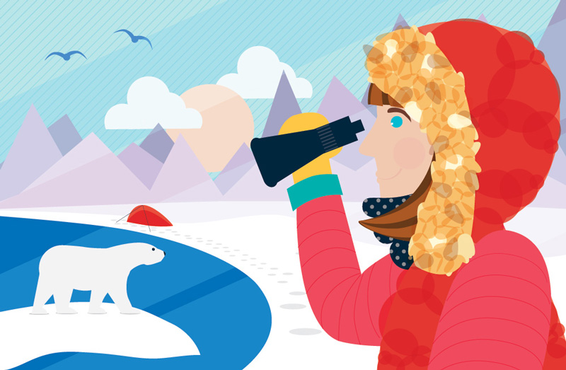 Women Arctic Explorer Wall Mural Illustration