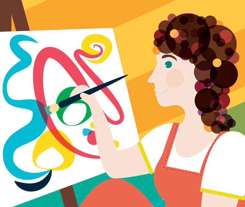 Artist Lady Wall Mural Illustration Sam Osborne