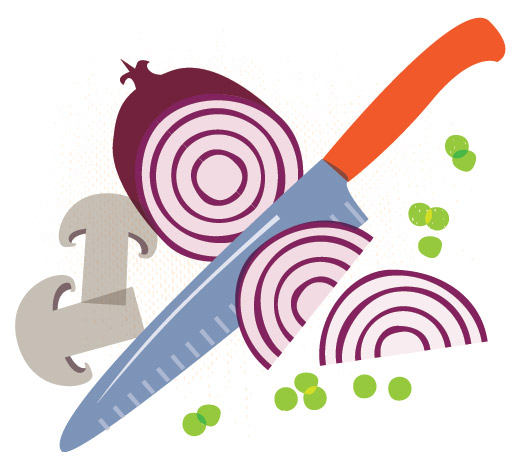 Chopping Onions Food Illustration