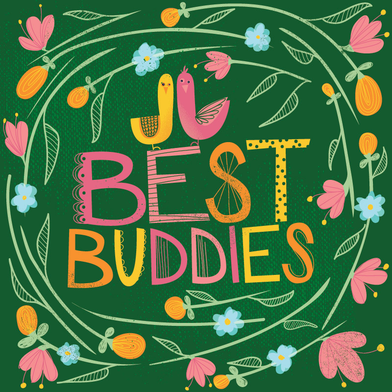 Best Buddies Card Illustration Typography