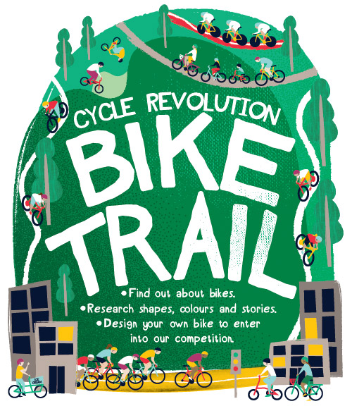 Design Museum Bike Trail Leaflet Illustration Design