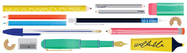 Uppercase Pen Pencil Bookmark Illustration