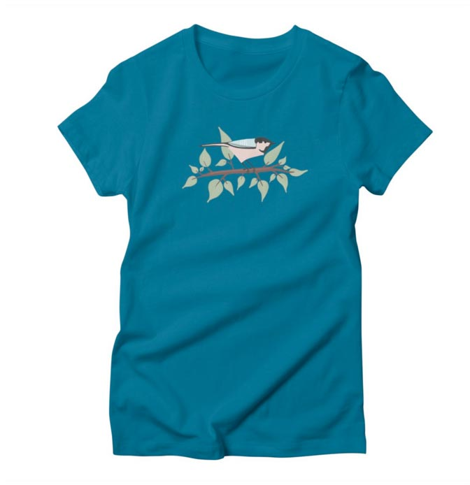 Women's T-Shirt Bird in Tree Illustration