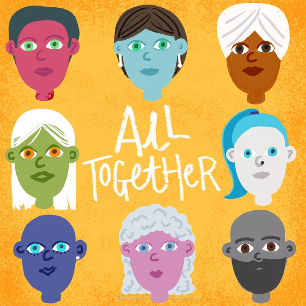 All Together People Illustration Lettering