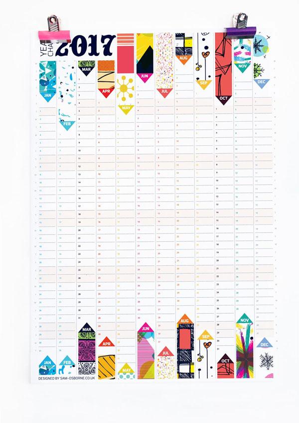 Pattern Design 2017 Wall Planner Calendar