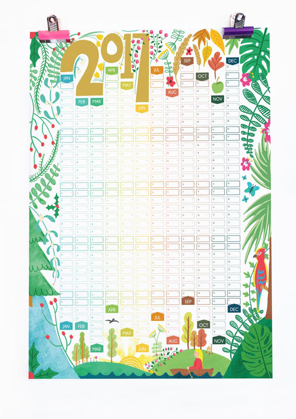 Seasons Illustrations 2017 Wall Planner Calendar