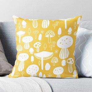Yellow-Mushrooms-Throw-Pillow