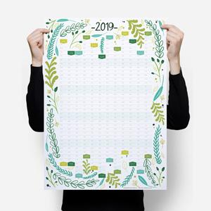 2019 Wall Planner Calendar - Green Floral Pattern Sam Osborne