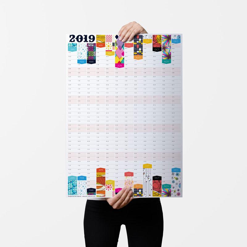 2019 Wall Planner Patterns Sam Osborne