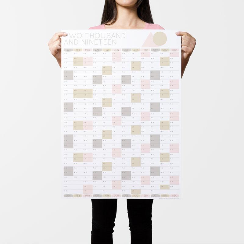 Rose Gold 2019 Wall Calendar Planner