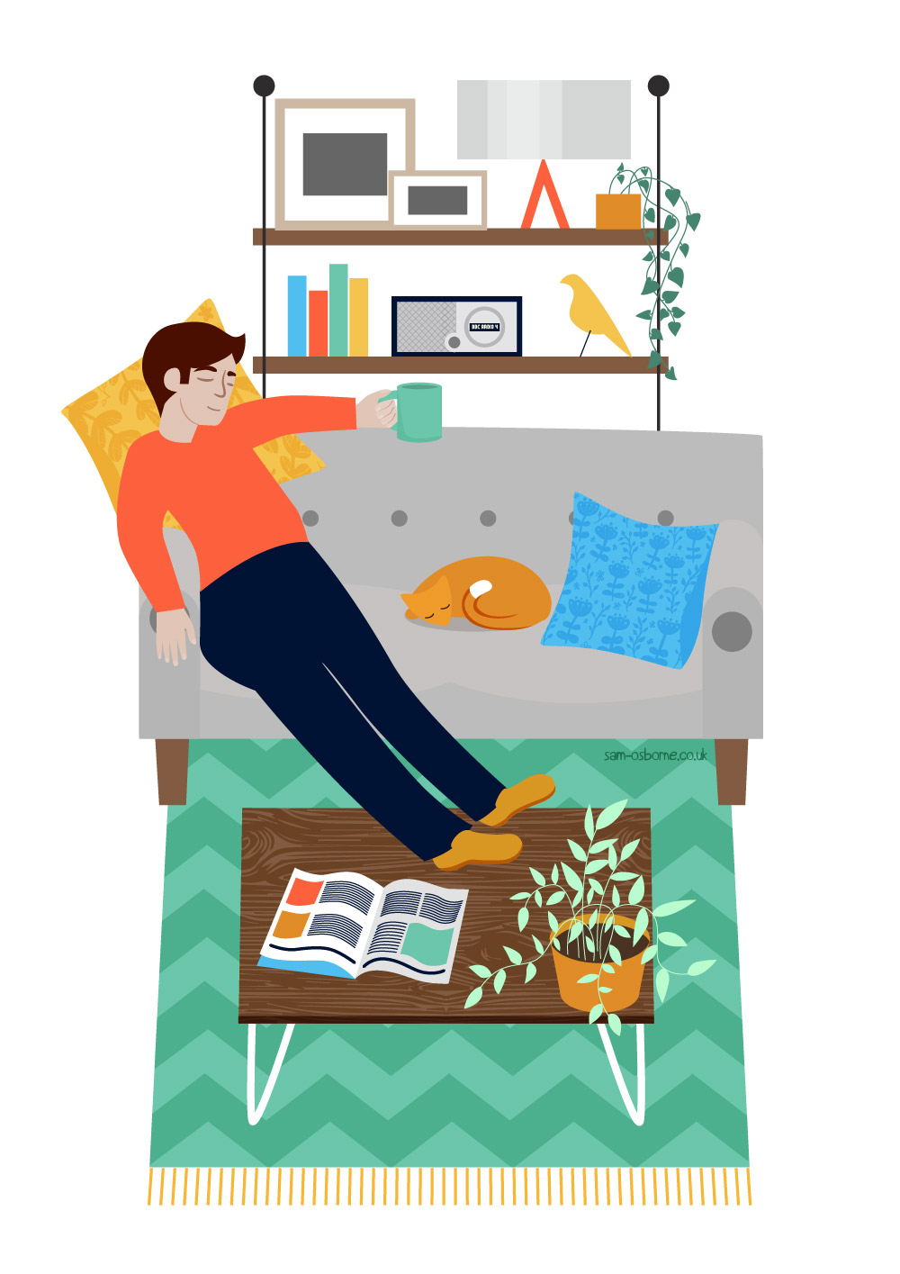 Lazy Afternoon Editorial Magazine Illustration Sam Osborne