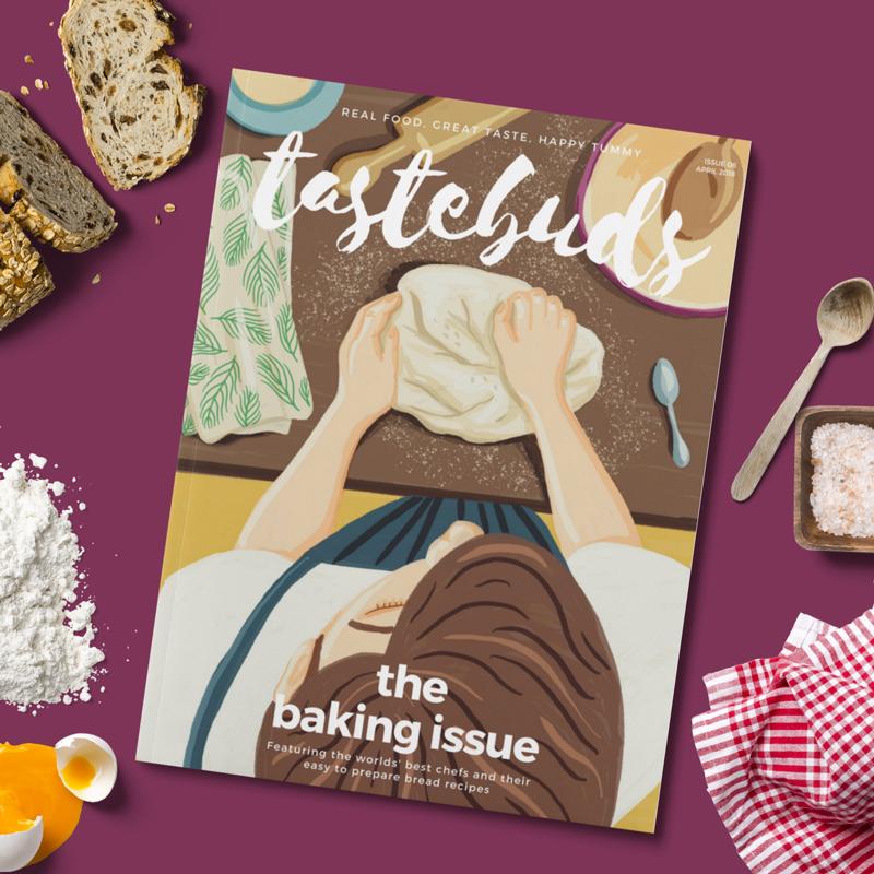 TasteBuds Food Magazine Cover Illustration