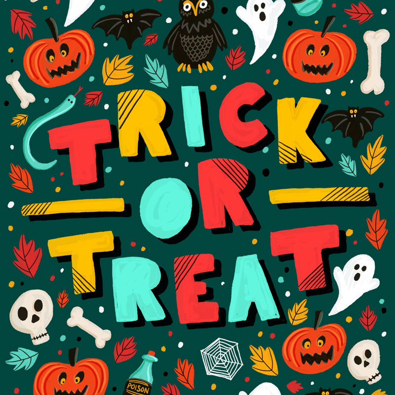 Trick or Treat Halloween Hand Lettering Illustrations