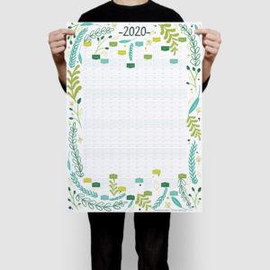 2020 Wall Planner Calendar Floral Design