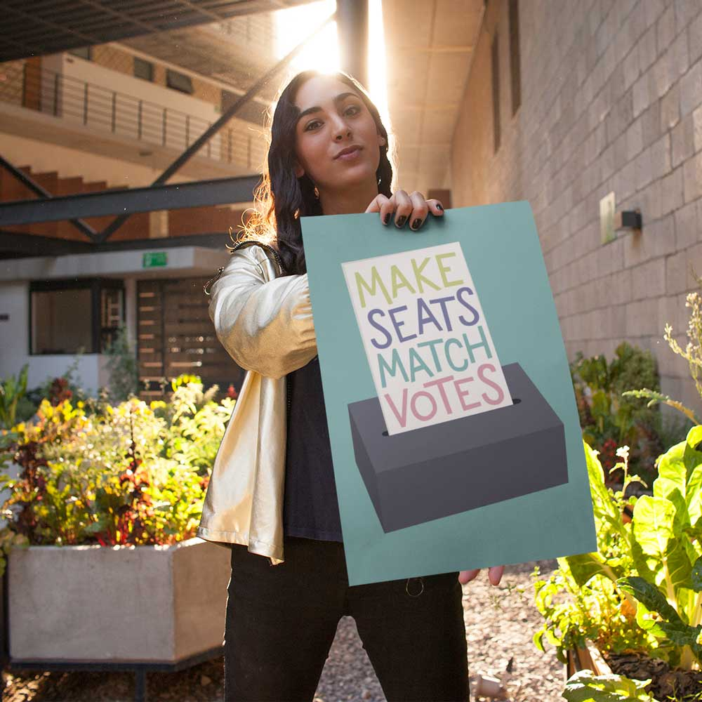 Electoral Reform Make Seats Match Votes Slogan Illustration