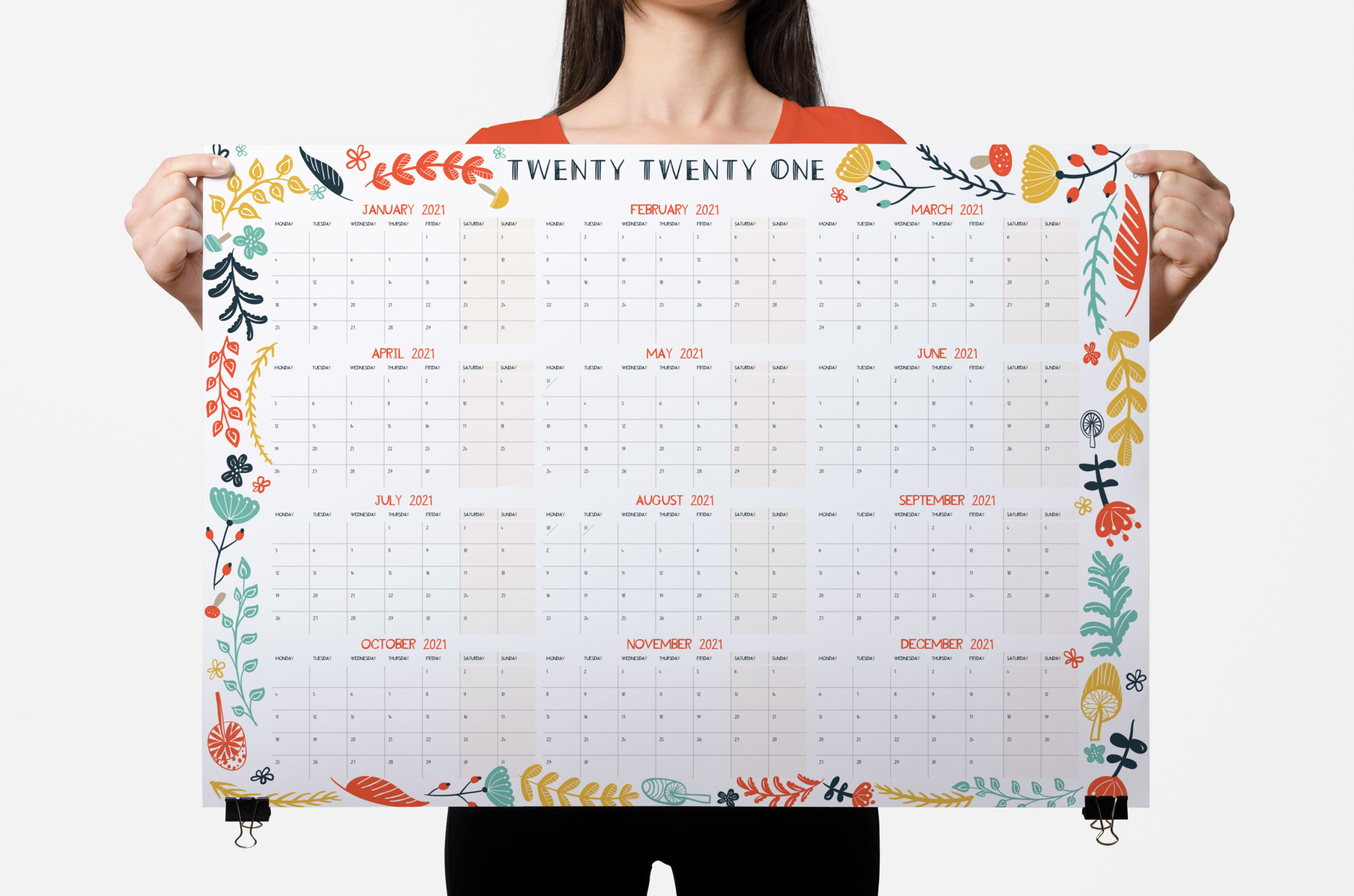 2021 wall planner floral grid