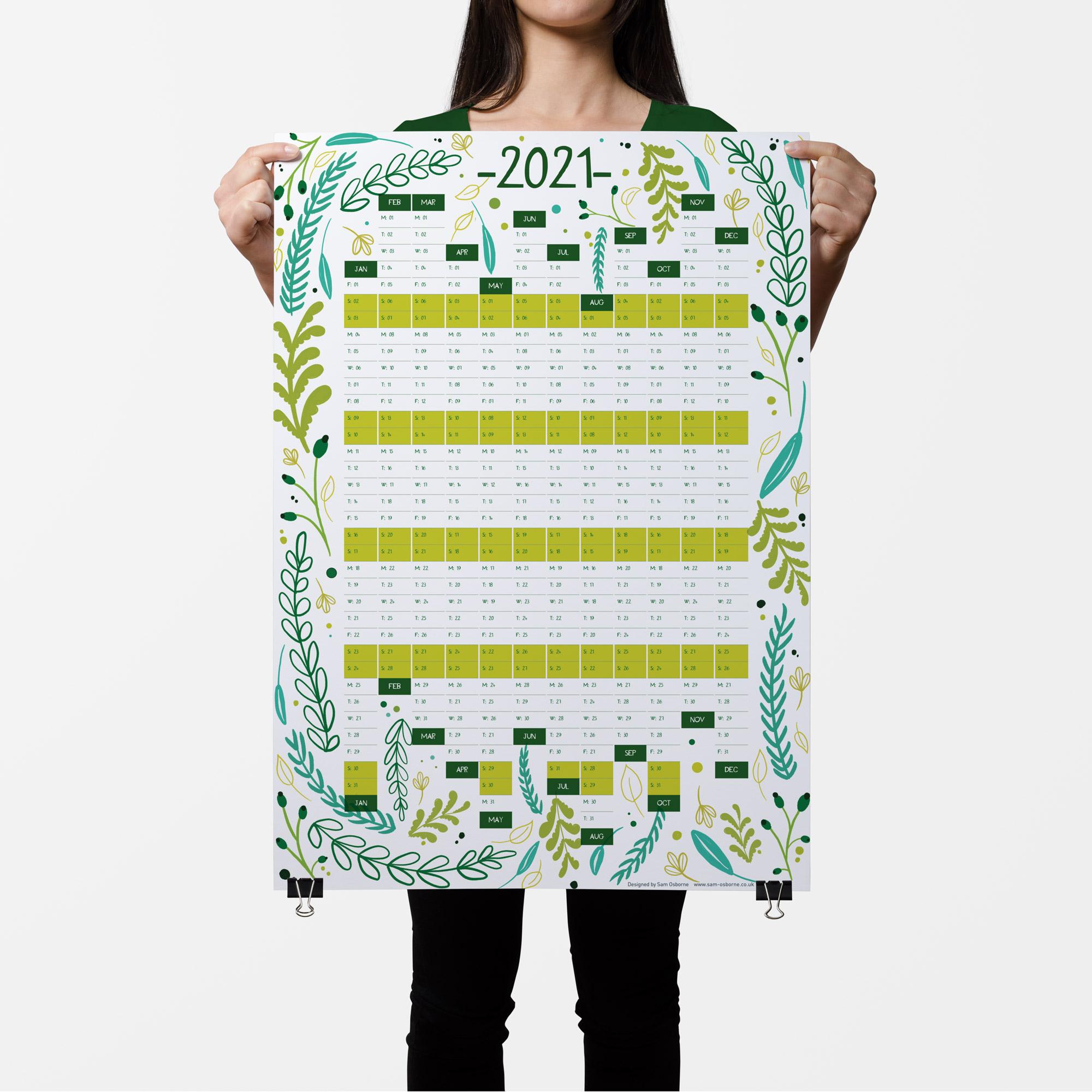 2021 Green Floral Planner