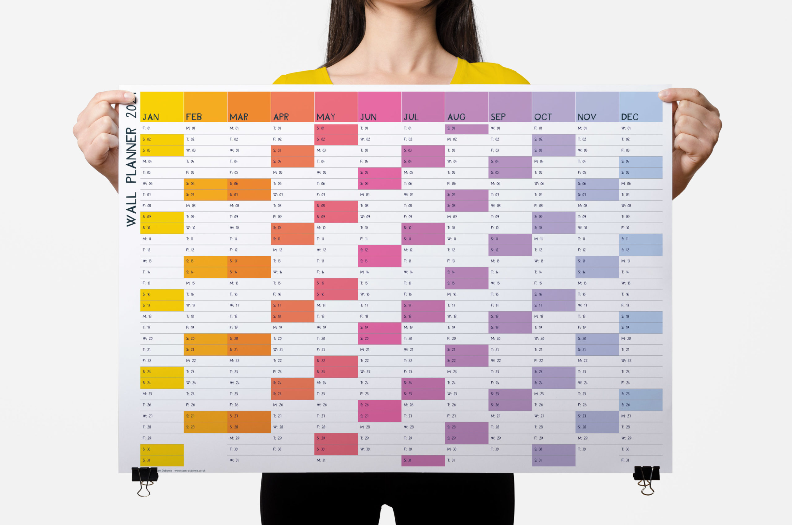 2021 wall planner rainbow design