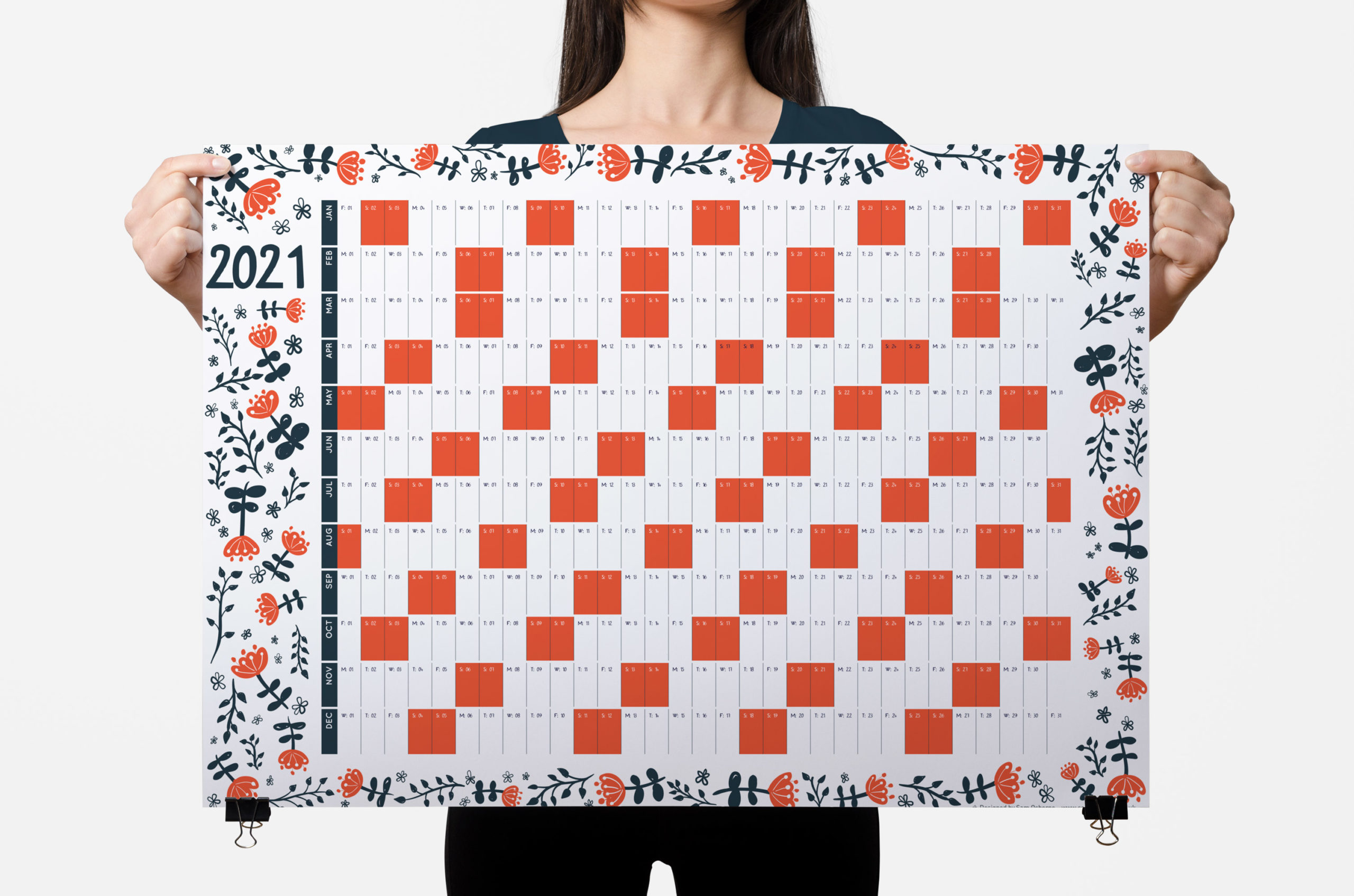 2021 wall planner red blooms