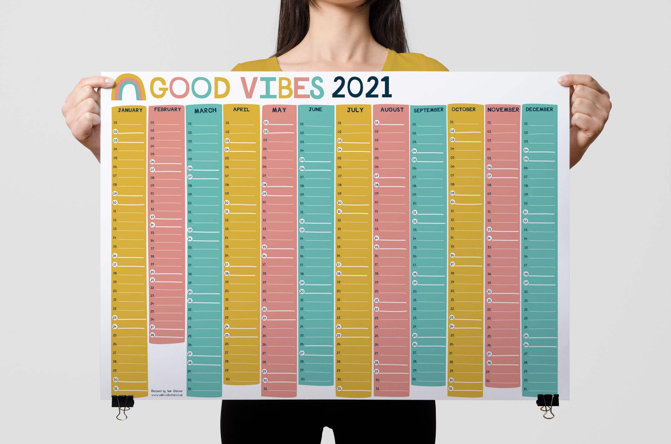 2021 wall planner good vibes