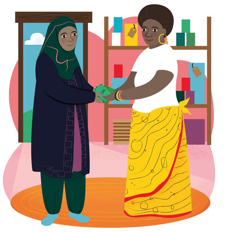 Charity Illustration World Gifts Lift Changing Loan