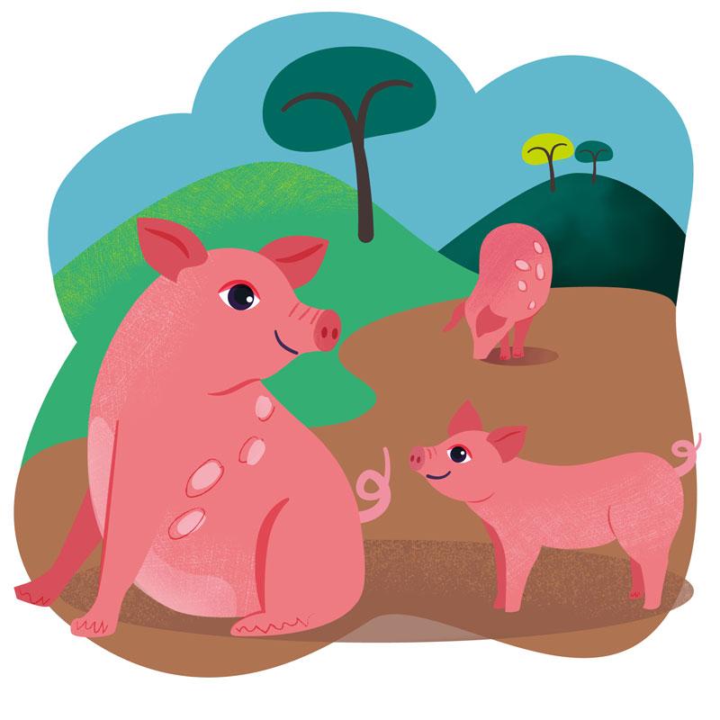 Happy Pigs Charity Illustration