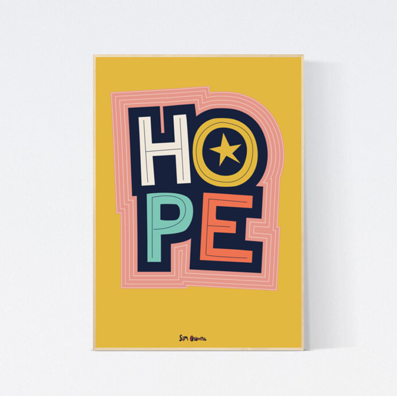 Hope Poster Lettering and Illustration
