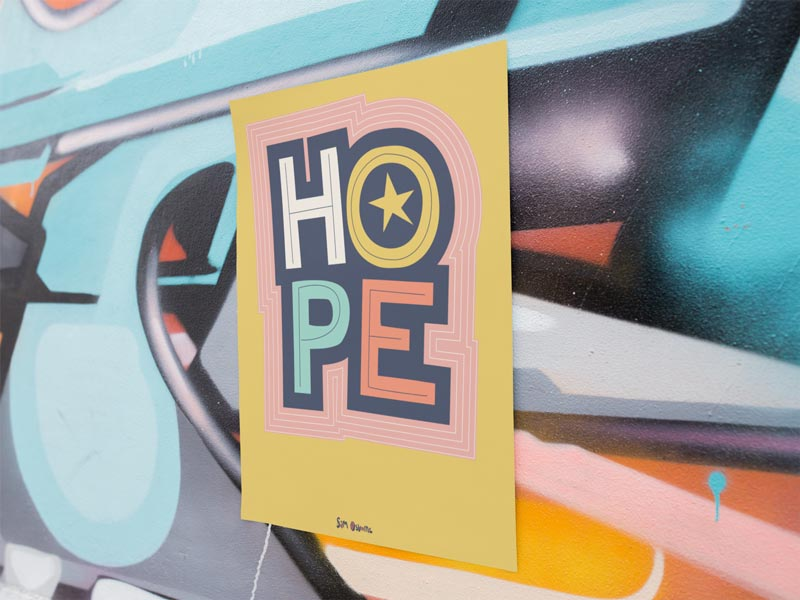 Hope Lettering Poster On Wall