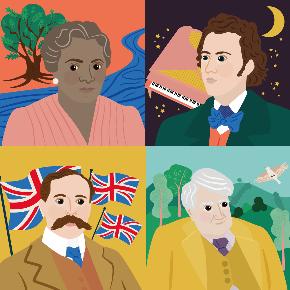 Illustrations for Classic FM Hall of Fame Group
