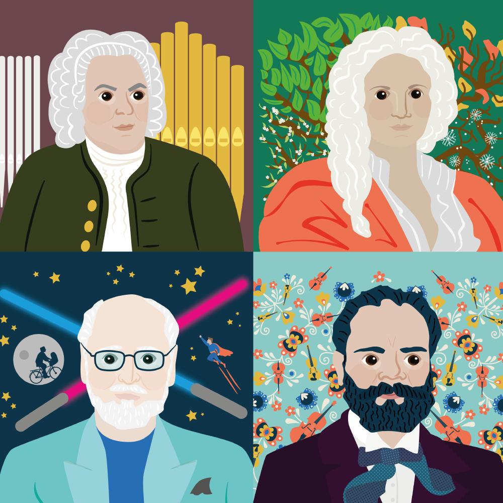 Classic FM Composers Portrait Illustrations Group
