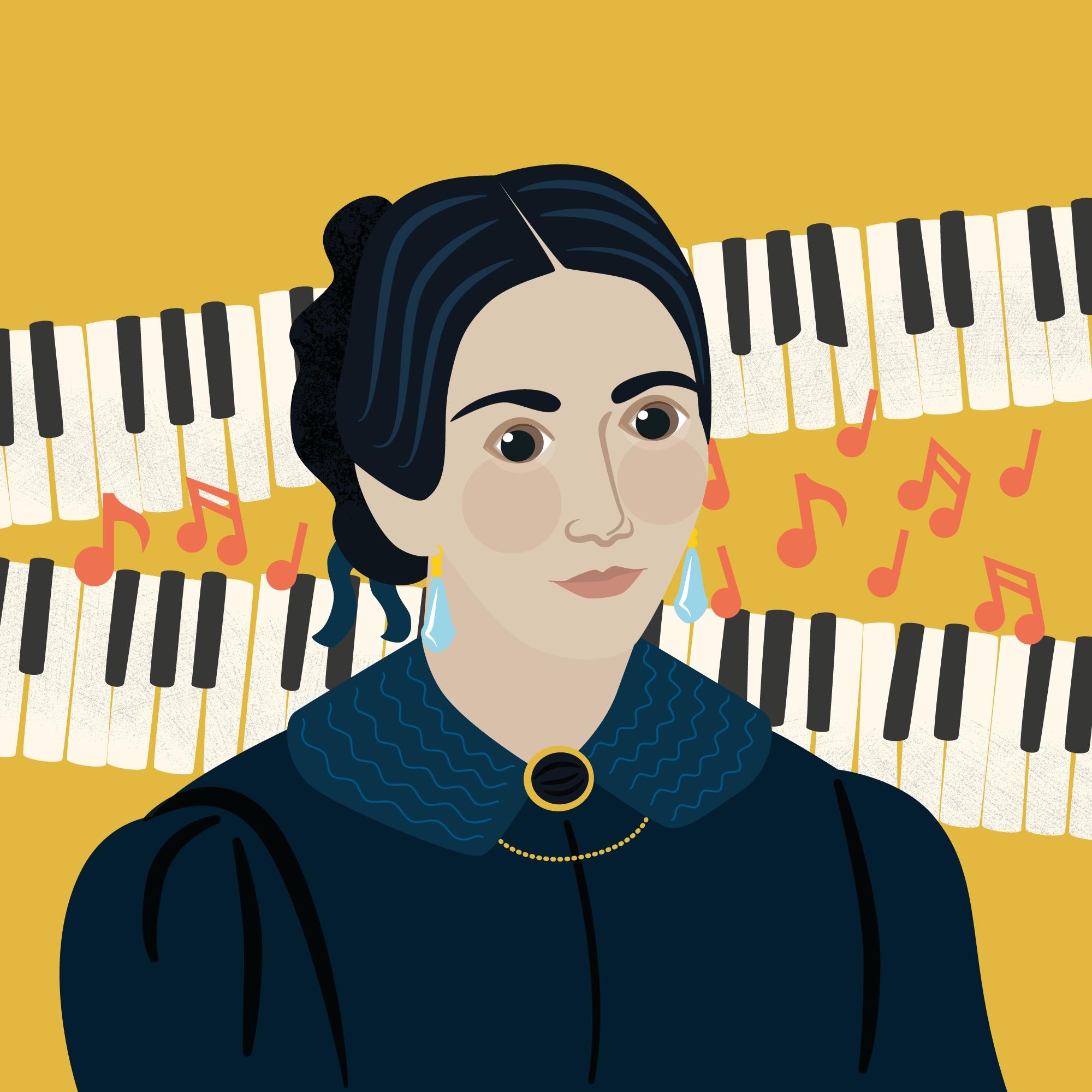 Clara Schumann portrait Illustration Classic FM Hall of Fame